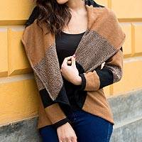 Alpaca blend cardigan, 'Mother Earth' - Brown and Black Alpaca Blend Open Front Cardigan Sweater