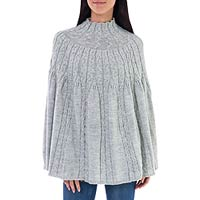 Alpaca blend poncho, 'Graceful Cloud' - Fair Trade Peru Light Grey Alpaca Blend Women's Poncho