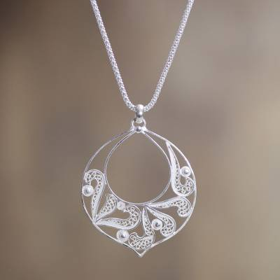 Sterling silver filigree pendant necklace, 'Filigree Foliage' - Andean Silver Handcrafted Silver Filigree Pendant Necklace