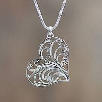 Sterling silver heart necklace, 'Lace Valentine'