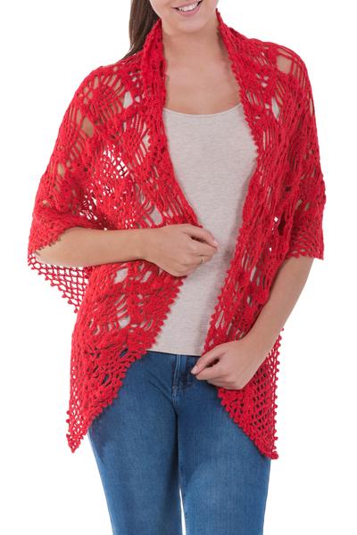 Alpaca blend shawl, 'Passion' - Peruvian Hand Crocheted Open Work Red Alpaca Blend Shawl
