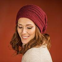 Alpaca blend hat, 'Andean Cherry' - Hand Knit Cherry Red Alpaca Blend Beanie Hat