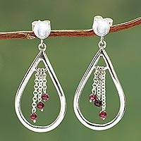 Garnet dangle earrings, 'Waterfall' - Garnet and Sterling Silver Hand Crafted Earrings