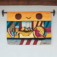 Wool tapestry, 'Landscape' - Abstract Andean Landscape Hand Loomed Wool Wall Tapestry