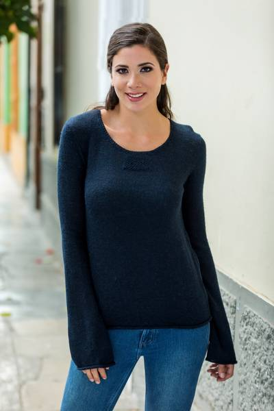 Alpaca blend sweater, 'Navy Blue Charisma' - Navy Blue Alpaca Blend Pullover Sweater from Peru