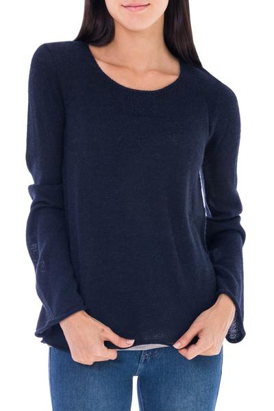 Alpaca blend sweater, 'Navy Blue Charisma' - Navy Blue Alpaca Blend Pullover Sweater from Peru