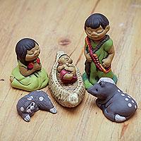 Ceramic nativity scene, 'An Ashaninka Christmas' (6 pieces) - Handpainted Peruvian Amazon Ceramic Nativity Scene Figurines