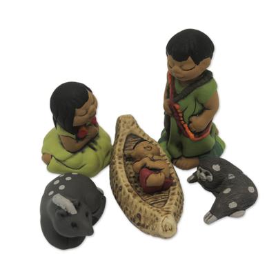Handpainted Peruvian Amazon Ceramic Nativity Scene Figurines