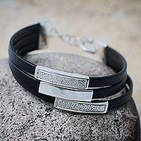 Sterling silver and leather wristband bracelet, 'Trio' - Handmade Black Leather Wristband Bracelet with Andean Silver