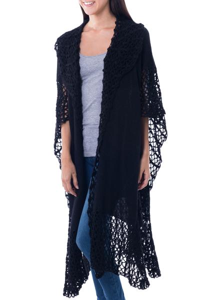 100% alpaca ruana cloak, 'Ebony Whisper' - Lacy Knitted Black 100% Alpaca Long Cape from Peru