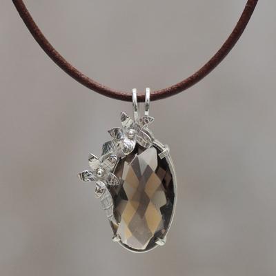 Smoky quartz pendant necklace, 'Sparkling Enigma' - Peru Handcrafted Smoky Quartz Necklace with Black Leather