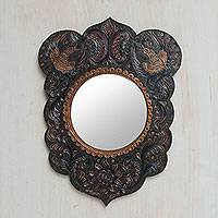 Leather mirror, 'Phoenix Flight' - Artisan Crafted Bird Theme Leather Wall Mirror