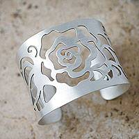 Silver flower cuff bracelet, 'Rose' - Hand Made Wide Silver Cuff Bracelet with Flower Cutout