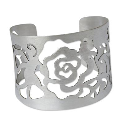 Silver flower cuff bracelet, 'Rose' - Hand Made Wide Silver Cuff Bracelet with Flower Cutout