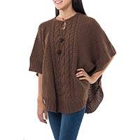 Alpaca blend poncho, 'Brown Harmony' - Brown Alpaca and Wool Blend Poncho with Pompoms