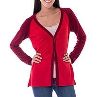100% cotton cardigan, 'So Red' - Peruvian Red Cotton V-Neck Cardigan Sweater