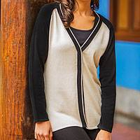 100% cotton cardigan sweater, 'Classic' - Women's Black and White Knit Cotton Cardigan Sweater