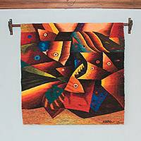 Wool tapestry, 'Marine Wealth' - Abstract Hand Woven Andean Wool Tapestry from Peru