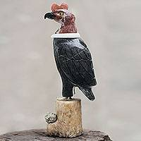 Onyx and garnet sculpture, 'Andean Condor' - Handcrafted Andean Gemstone Bird Sculpture