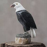 Onyx and calcite sculpture, 'Proud Eagle'