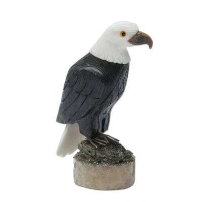 Onyx and calcite sculpture, 'Proud Eagle' - Fair Trade Gemstone Eagle Sculpture