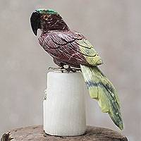 Garnet and serpentine sculpture, 'Little Parrot' - Hand Carved Gemstone Parrot Sculpture from Peru