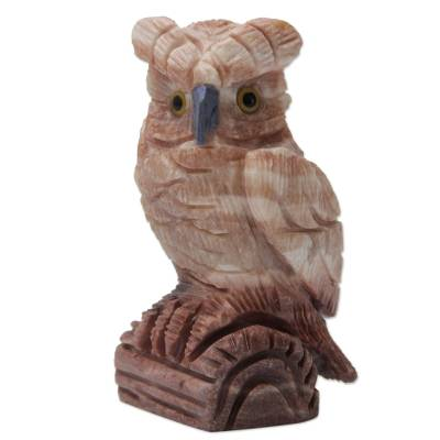 Calcite sculpture, 'Rosy Owl' - Artisan Crafted Pink Calcite Bird Sculpture from Peru