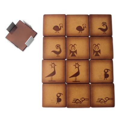 Wood coasters, 'Pre-Hispanic Birds' (set of 12) - Andean Handcrafted Wood Coasters and Stand (Set of 12)