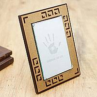 Wood photo frame, 'Sepia Geometry' (4x6) - Brown and Tan Handcrafted Wood Photo Frame (4 x 6 in)