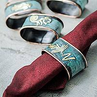 Copper and bronze napkin rings, 'Nazca Marvels' (set of 6) - Copper Napkin Rings with Bronze Nazca Images (Set of 6)