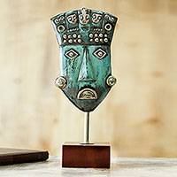 Copper and bronze sculpture, 'Mask of Royalty' - Handcrafted Pre-Hispanic Copper and Bronze Mask Sculpture