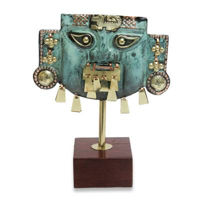 Hand Crafted Inca Copper and Bronze Mask Sculpture with Cat