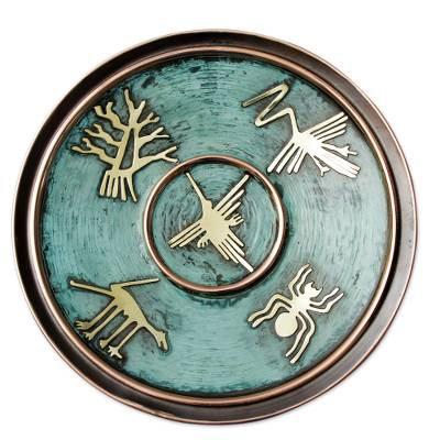 Copper decorative plate u0027Images from Nazcau0027 - Handcrafted Decorative Copper Plate with Bronze  sc 1 st  NOVICA & Handcrafted Decorative Copper Plate with Bronze Nazca Images ...