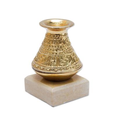 Bronze paperweight, 'Inca Water Jar' - Andean Inca Style Golden Bronze Paperweight Sculpture