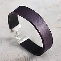 Leather wristband bracelet, 'Peace in Purple' - Purple Leather Wristband Bracelet with Sterling Silver Clasp