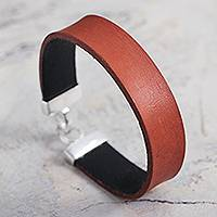 Leather wristband bracelet, 'Peace in Orange' - Artisan Crafted Orange Leather and Silver Wristband Bracelet