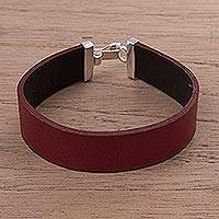 Leather wristband bracelet, 'Peace in Red' - Red Leather Wristband Bracelet with Sterling Silver Clasp