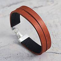 Leather wristband bracelet, 'Orange Unity' - Double Leather Wristband Bracelet Crafted by Hand in Peru