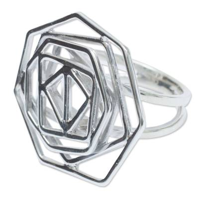 Sterling silver cocktail ring, 'Kaleidoscope' - Artisan Crafted Andean Silver Geometric Cocktail Ring