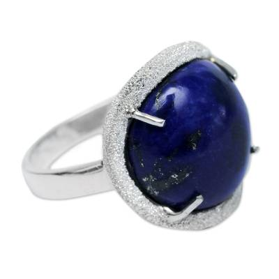 Lapis lazuli cocktail ring, 'Blue Enigma' - Artisan Crafted Textured Sterling Ring with Lapis Lazuli