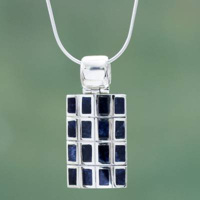 Sodalite pendant necklace, 'Honeycomb' - Hand Crafted Andean Silver and Sodalite Pendant Necklace