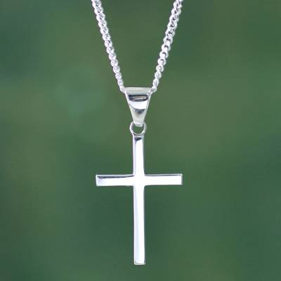 Men's silver cross necklace, 'Eternal God' - Sleek Minimalist Handcrafted Men's Silver Cross Necklace
