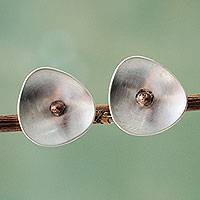 Sterling silver button earrings, 'Abstract Blossom' - Sterling Silver Copper Accent Modern Button Earrings