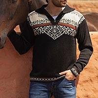 Men's 100% alpaca sweater, 'Midnight Snow' - Black and White Men's Zipper Turtleneck 100% Alpaca Sweater