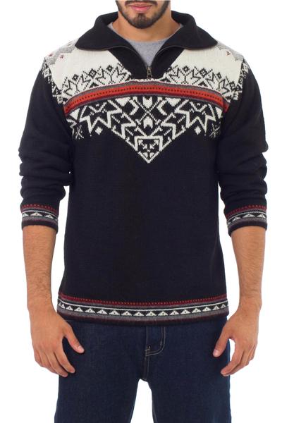 Men's 100% alpaca sweater, 'Midnight Snow' - Black and White Men's Zipper Turtleneck 100% Alpaca Sweater