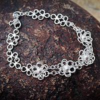 Sterling silver flower bracelet, 'Lima Blooms' - Artisan Crafted Sterling Silver Flower Jewelry Bracelet