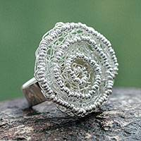 Sterling silver flower ring, 'Swirling Bloom' - Peru Fair Trade Floral Sterling Silver Artisan Crafted Ring