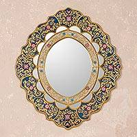 Mirror, 'Golden Garden' - Peruvian Reverse Painted Mirror with Flowers