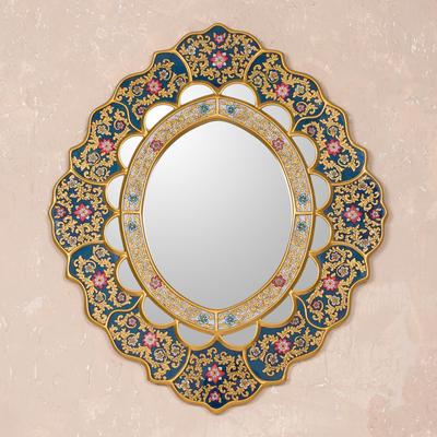 85dd63508d17 Unique Floral Wood Reverse Painted Art Glass Wall Mirror - Golden ...