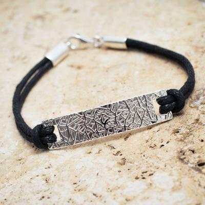 Handmade Black Leather Men S Bracelet With Sterling Silver Modern